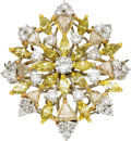 Estate Jewelry:Brooches - Pins, Colored Diamond, Diamond, White Gold Pendant-Brooch. The starburstbrooch features full-cut diamonds weighing a total of a... (Total:1 Item)