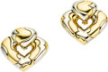 Estate Jewelry:Earrings, Twotone Gold Earrings, Marina B.. Each earring, designed as astylized heart, features 18k white and yellow gold with high...(Total: 1 Item)