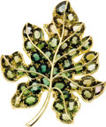 Estate Jewelry:Brooches - Pins, Tourmaline, Colored Diamond, Gold Brooch. The brooch, designed as aleaf, features oval-shaped tourmaline in various shade... (Total: 1Item)