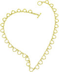 "Estate Jewelry:Necklaces, Diamond, Gold Necklace, Judith Ripka. The necklace features fancy ""o"" shaped links, featuring full-cut diamonds weighing a... (Total: 1 Item)"