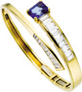 Estate Jewelry:Bracelets, Tanzanite, Diamond, Gold Bracelet, David Webb. The hinged banglefeatures an emerald-cut tanzanite measuring 10.40 x 8.10 ...(Total: 1 Item)