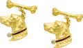 Estate Jewelry:Cufflinks, Diamond, Ruby, Gold Dog Cuff Links. Each heavily textured 22k yellow gold cuff link is designed as a dog's head, having a ... (Total: 1 Item)