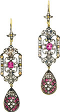 Estate Jewelry:Earrings, Pink Tourmaline, Diamond, Citrine, Gold Earrings. Each earring ishighlighted by an oval-shaped pink tourmaline weighing a... (Total:1 Item)