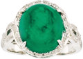 Estate Jewelry:Rings, Emerald, Diamond, White Gold Ring. The ring features an oval-shapedemerald cabochon weighing approximately 6.45 carats, e... (Total: 1Item)
