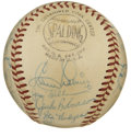 Autographs:Baseballs, 1956 Brooklyn Dodgers Team Signed Baseball, PSA NM 7. The magnificent condition of this ONL (Giles) ball, and the absence of...
