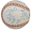 Autographs:Baseballs, 1992-93 New York Knicks Team Signed Baseball. Under the rule ofhead coach Pat Riley the 1992-93 New York Knicks closed the...