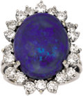 Estate Jewelry:Rings, Opal, Diamond, White Gold Ring. The ring features an oval-shaped opal cabochon measuring 17.50 x 14.50 x 6.70 mm and weigh... (Total: 1 Item)