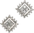 Estate Jewelry:Earrings, Diamond, White Gold Earrings. Each earring features square andfull-cut diamonds, set in 14k white gold. Total diamond wei...(Total: 1 Item)