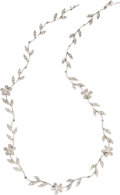 Estate Jewelry:Necklaces, Diamond, White Gold Necklace. The necklace, designed with a floral motif, features full-cut diamonds weighing a total of a... (Total: 1 Item)