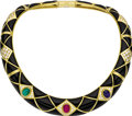 Estate Jewelry:Necklaces, Multi-Stone, Diamond, Black Onyx, Gold Necklace, Leverington. The collar style necklace features three gemstone cabochons:... (Total: 1 Item)