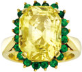 Estate Jewelry:Rings, Yellow Sapphire, Tsavorite Garnet, Gold Ring. The ring features a radiant-cut yellow sapphire measuring 15.10 x 11.50 x 10... (Total: 1 Item)