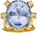Estate Jewelry:Rings, Sapphire, Diamond, Gold Ring. The ring features an oval-shapedsapphire measuring 17.25 x 14.50 x 10.50 mm and weighing ap...(Total: 1 Item)