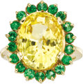 Estate Jewelry:Rings, Yellow Sapphire, Tsavorite, Gold Ring. The ring, designed as a sunflower, features an oval-shaped yellow sapphire measurin... (Total: 1 Item)