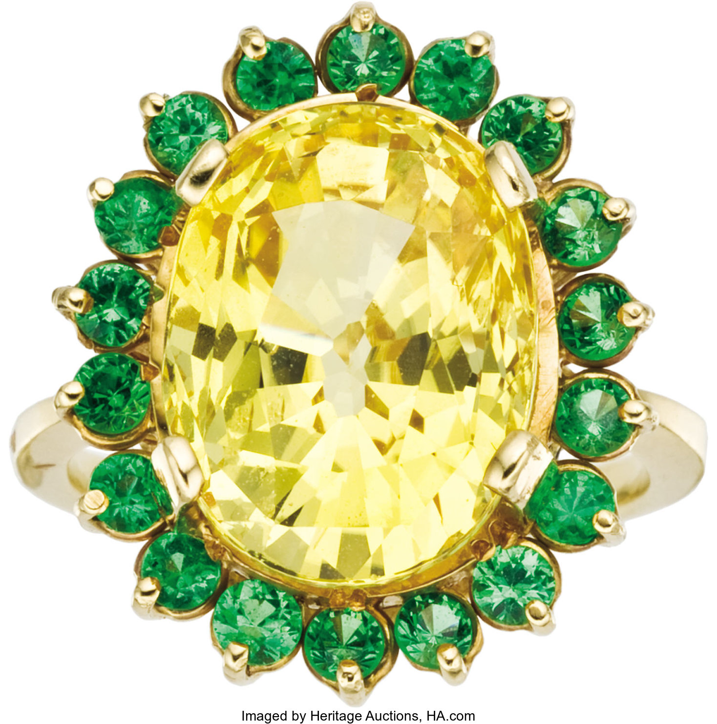 0902a66f11fd0 Yellow Sapphire, Tsavorite, Gold Ring. The ring, designed as a   Lot ...