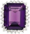 Estate Jewelry:Rings, Amethyst, Diamond, White Gold Ring. The ring features anemerald-cut amethyst measuring 21.90 x 17.05 x 9.20 mm andweighi... (Total: 1 Item)