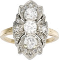 Estate Jewelry:Rings, Diamond, Gold Ring, Lambert Bros.. The ring centers a line of European and full-cut diamonds weighing a total of approxima... (Total: 1 Item)