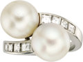 Estate Jewelry:Rings, South Sea Cultured Pearl, Diamond, Platinum Ring. The ring featuresSouth Sea cultured pearls measuring approximately 10.5... (Total: 1Item)
