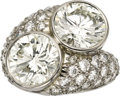 Estate Jewelry:Rings, Diamond, Platinum Ring, Leverington. The bypass ring features tworound brilliant-cut diamonds, one measuring 10.40 - 10.3... (Total:1 Item)