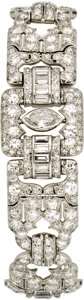 Estate Jewelry:Bracelets, Art Deco Diamond, Platinum Bracelet. The bracelet featuresmarquise-shaped diamonds weighing a total of approximately 1.50...(Total: 1 Item)
