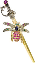 Estate Jewelry:Brooches - Pins, Ruby, Sapphire, Emerald, Diamond, Silver-Topped Gold Brooch. The brooch, designed as a bee on a sword, features an oval-sh... (Total: 1 Item)