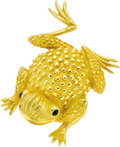 Estate Jewelry:Brooches - Pins, Sapphire, Gold Brooch. The brooch, designed as a frog, featuressapphire cabochon eyes weighing a total of approximately 0...(Total: 1 Item)
