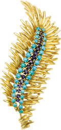 Estate Jewelry:Brooches - Pins, Sapphire, Turquoise, Gold Brooch. The brooch features a line of round-cut sapphires weighing a total of approximately 1.25... (Total: 1 Item)