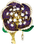 Estate Jewelry:Brooches - Pins, Diamond, Enamel, Gold Brooch. The brooch, designed as a flower,features round brilliant-cut diamonds weighing a total of ...(Total: 1 Item)