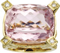 Estate Jewelry:Rings, Kunzite, Diamond, Gold Ring. The ring features a cushion-cut kunzite measuring 19.25 x 16.15 x 12.40 mm and weighing appro... (Total: 1 Item)