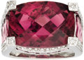 Estate Jewelry:Rings, Pink Tourmaline, Diamond, White Gold Ring. The ring features afantasy-cut pink tourmaline measuring 17.85 x 12.90 x 9.80 ...(Total: 1 Item)
