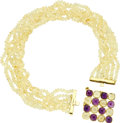 Estate Jewelry:Necklaces, Amethyst, Citrine, Gold Convertible Necklace, Rajola. The necklace features two components: one convertible pendant-brooch... (Total: 1 Item)
