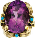 Estate Jewelry:Rings, Amethyst, Turquoise, Gold Ring. The ring, designed with a foliatemotif, features an oval-shaped amethyst measuring 27.00 ... (Total:1 Item)