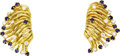Estate Jewelry:Earrings, Diamond, Sapphire, Gold Earrings, Tiffany & Co.. The earringsare enhanced by full-cut diamonds weighing a total of approx...(Total: 1 Item)
