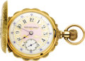 Timepieces:Pocket (pre 1900) , Elgin Diamond, Gold Box Hinge Hunting Case Pocket Watch, circa1891. Case: 54 mm, box hinged, 14k tricolor gold with heavi...(Total: 1 Item)