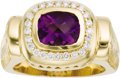 Estate Jewelry:Rings, Amethyst, Diamond, Gold Ring. The ring features a fancy-cutamethyst measuring 8.50 x 7.00 mm, enhanced by full-cut diamon...(Total: 1 Item)