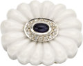 Estate Jewelry:Rings, Sapphire, Diamond, White Agate Gold Ring. The ring features an oval-shaped sapphire weighing approximately 0.55 carat, enh... (Total: 1 Item)