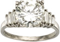 Estate Jewelry:Rings, Diamond, Platinum Ring. The ring features a round brilliant-cutdiamond measuring 9.35 - 9.30 x 5.30 mm and weighing appro...(Total: 1 Item)