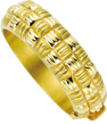 Estate Jewelry:Bracelets, Gold Bracelet. The hinged 18k yellow gold bangle features a wovendesign in both satin and high polish finishes. Gross wei... (Total:1 Item)