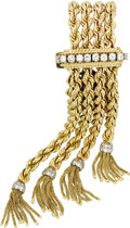 Estate Jewelry:Bracelets, Diamond, Gold Bracelet. The bracelet is composed of 14k yellow goldrope chains, one end terminating in bar clasp featurin... (Total: 1Item)