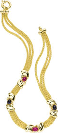 Estate Jewelry:Necklaces, Ruby, Sapphire, Gold Necklace. The necklace features oval-shapedruby and sapphire cabochons, stationed by three strands o...(Total: 1 Item)