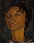 Paintings, Angel Botello (Puerto Rican, 1913-1986). Untitled (Portrait of a woman), circa 1955. Oil on board. 25 x 19-1/2 inches (6...