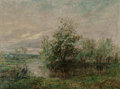 Fine Art - Painting, European:Modern  (1900 1949)  , Paul Auguste Leon Méry (French, 1848-1948). A River Landscape with a Pair of Herons in the Foreground. Oil on canvas. 38...