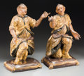 Decorative Arts, Continental:Other , A Pair of Venetian Carved, Polychromed, and Giltwood OrientalFigures, circa 1790. 22 h x 13-1/2 w x 10 d inches (55.9 x 34....(Total: 2 Items)