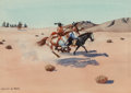 Fine Art - Work on Paper:Watercolor, Leonard Howard Reedy (American, 1899-1956). Attack on theSioux. Watercolor on paper. 7-5/8 x 11 inches (19.4 x 27.9cm)...