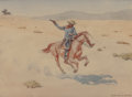 Fine Art - Work on Paper:Watercolor, Leonard Howard Reedy (American, 1899-1956). The FleeingOutlaw. Watercolor on paper. 7-1/2 x 10-1/2 ...
