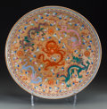 Asian:Chinese, A Large Chinese Enameled Porcelain Charger with Five Dragon Motif,Republic Period, circa 1912-1949. Marks: Six-character Qi...