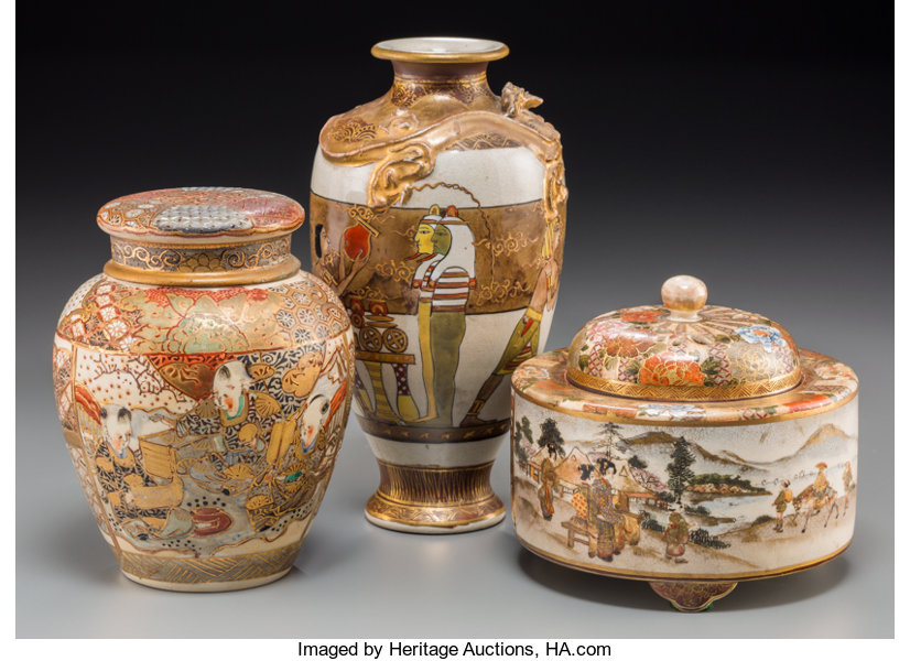 An Unsual Japanese Satsuma Vase With Egyptian Motif And Two Lot