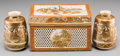 Asian:Japanese, A Japanese Satsuma Lattice Covered Box with a Pair of CabinetVases, late Meiji-Taisho Period. Marks: Three-character Shuzan...(Total: 3 Items)