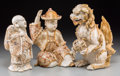Other, Three Japanese Satsuma Figures, Meiji-Taisho Periods. 12 inches high (30.5 cm) (tallest, lion). ... (Total: 3 Items)