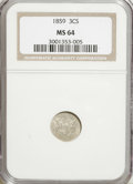 Three Cent Silver, 1859 3CS MS64 NGC....