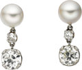 Estate Jewelry:Earrings, Diamond, Cultured Pearl, White Gold Earrings. Each earring features a European-cut diamond weighing approximately 1.55 car... (Total: 1 Item)